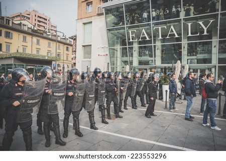 MILAN, ITALY - OCTOBER 11: demonstration held in Milan october 11, 2014. Police during protest against Milan expo to be held in 2015, event important worldwide.
