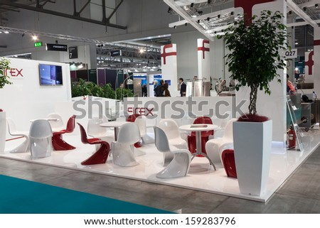 MILAN, ITALY - OCTOBER 18: Design chairs in a stand at Host 2013, international exhibition of the hospitality industry on OCTOBER 18, 2013 in Milan.