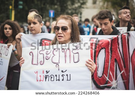 MILAN, ITALY - OCTOBER 16: Exiled Thai activist Junya Yimprasert in Milan on october, 16 2014. denouncing Thai prime minister General Prayuth Chan-ocha which has  hosted the 10th Asia-Europe Meeting