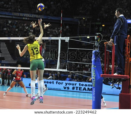 MILAN, ITALY-OCTOBER 10, 2014: indoor female volleyball match Brazil vs Dominican Republic, during the Volleyball World Cup, in Milan.