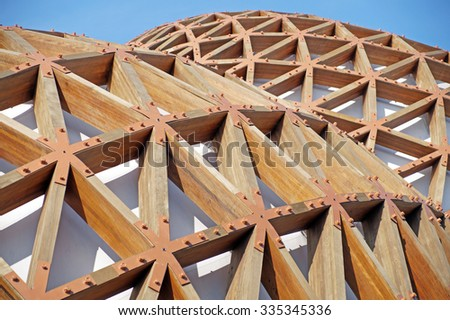 MILAN , ITALY - 20 October 2015 : modern construction with wooden details. The new facilities are built with green materials and environmentally friendly - stock photo