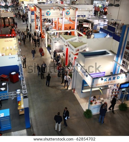 MILAN, ITALY - OCTOBER 08: Panoramic view of Sfortec 2010, international exhibition of machines, robots, automation and auxiliary technologies October 08, 2010 in Milan, Italy.