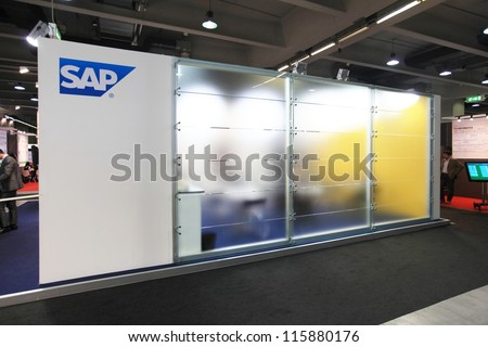 MILAN, ITALY - OCTOBER 17: Sap box products area at SMAU, international fair of business intelligence and information technology October 17, 2012 in Milan, Italy. - stock photo