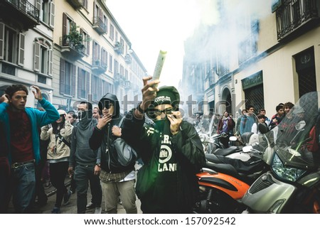 MILAN, ITALY - OCTOBER 4: Students manifestation held in Milan on October, 4 2013. Students took to the streets to protest against italian austerity, against italian crisis and claiming their future