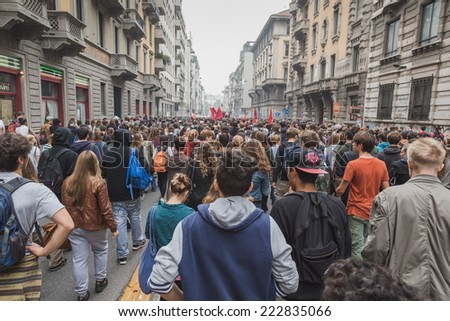 MILAN, ITALY - OCTOBER 10: Thousands of students march in the city streets to protest against the money cuts in the public school on OCTOBER 10, 2014 in Milan.