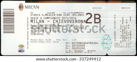 MILAN, ITALY - 28 October 2015 Ticket for football stadium ( Stadio Giuseppe Meazza ) in the San Siro district in Milan. The home of AC Milan and Inter Milan. - stock photo