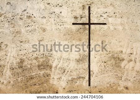 Milan, Italy. Old grave at Monumental Cemetery (Cimitero Monumentale). Religious art - Christian cross. - stock photo