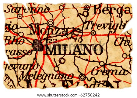 Milan, Italy on an old torn map from 1949, isolated. Part of the old map series.