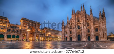 Milan, Italy: Piazza del Duomo, Cathedral Square in beautiful colors of sunrise. Representative picture of astonishing square in city, center of social and cultural life. Galleria Vittorio Emanuele.  - stock photo
