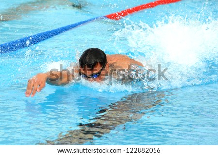MILAN, ITALY - SEPT 20:  Alessandro Calvi swimming champion during the performance september 20, 2008 in Milan, ITALY