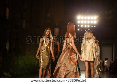 Milan, Italy - 23 September 2015: A model walks the runway at the Genny show during the Milan Fashion Week Spring/Summer 2016