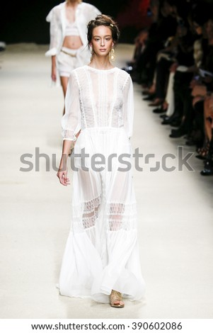 MILAN, ITALY - SEPTEMBER 23: A model walks the runway during the Alberta Ferretti fashion show as part of Milan Fashion Week Spring/Summer 2016 on September 23, 2015 in Milan, Italy.  - stock photo