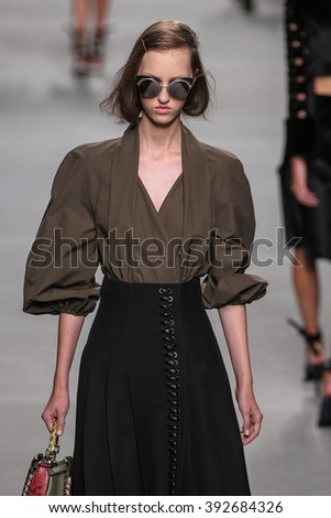 MILAN, ITALY - SEPTEMBER 24: A model walks the runway during the Fendi fashion show as part of Milan Fashion Week Spring/Summer 2016 on September 24, 2015 in Milan, Italy.
