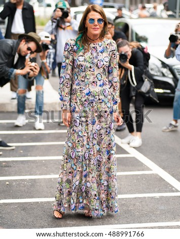Milan, Italy, 21 September 2016 - Anna dello Russo poses for photographers before ARMANI fashion show at Milan Woman Fashion Week street style Spring/Summer 2017