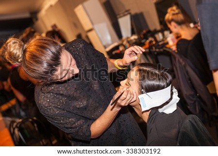 Milan, Italy - 24 September 2015: Backstage bedore the runway during the Byblos Milano fashion show as part of Milan Fashion Week Spring/Summer 2016 - stock photo