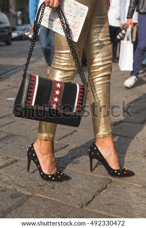 MILAN, ITALY - SEPTEMBER 23, 2016: Detail of bag outside Marco De Vincenzo fashion show building during Milan Women Fashion Week SS17.