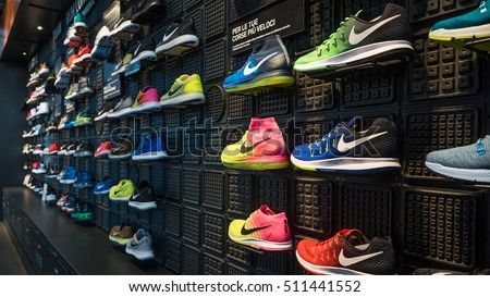 MILAN, ITALY - SEPTEMBER 27, 2016: Exposition of nike sport shoes. Nike is one of the world's largest suppliers of athletic shoes and apparel. The company was founded on January 25, 1964.
