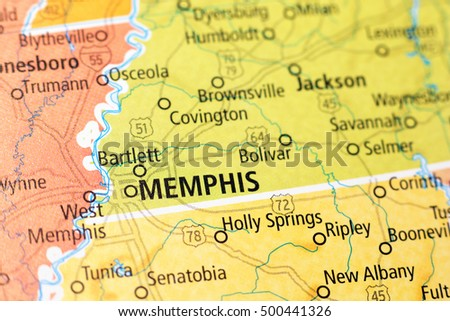 Milan, Italy - September 18, 2015: Memphis area on a map