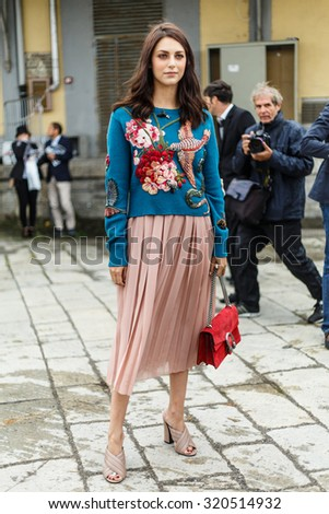 MILAN, ITALY - SEPTEMBER 23: Miriam Leone arrives at the Gucci show during the Milan Fashion Week Spring/Summer 2016 on September 23, 2015 in Milan, Italy.