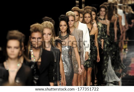 MILAN, ITALY-SEPTEMBER 27, 2009: Models runway catwalk during the John Richmond spring-summer fashion collection. - stock photo