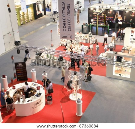 MILAN, ITALY - SEPTEMBER 09: Panoramic view of people visiting architecture and interiors design pavilions at Macef, International Home Show Exhibition on September 09, 2011 in Milan, Italy.