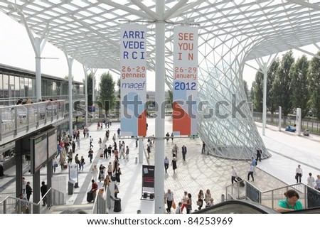 MILAN, ITALY - SEPTEMBER 08: People enter design and interior decoration products stands to visit Macef, International Home Show Exhibition on September, 8 2011 in Milan, Italy.