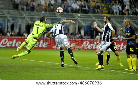 MILAN, ITALY SEPTEMBER 18, 2016: soccer players in action during the italian serie A match FC Internazionale vs FC Juventus, at the san siro stadium, in Milan.