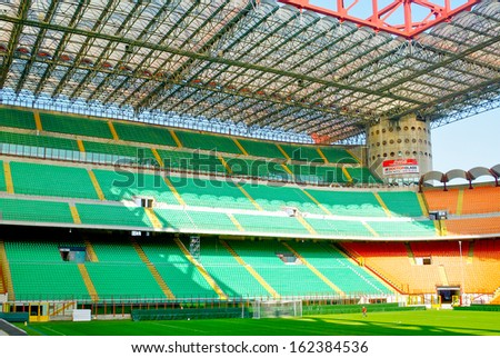 MILAN, ITALY - SEPTEMBER 9, 2012: Stadio Giuseppe Meazza (San Siro), is a football stadium in Milan, Italy, on September 9th, 2012. It's home for A.C. Milan and F.C. Internazionale Milano.
