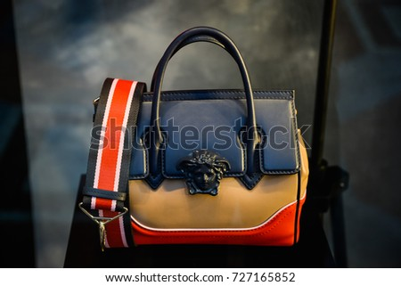 Milan, Italy - September 24, 2017:  Versace bag in a store in Milan