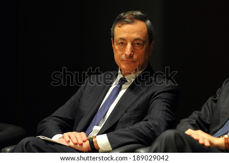 """MILAN, ITALY - STEPTEMBER 27: Mario Draghi Italian President in Meeting organized by Bocconi University on Luigi Spaventa His life, his passions, his lectures """", Sept 27, 2013 in Milan, Italy.  - stock photo"""