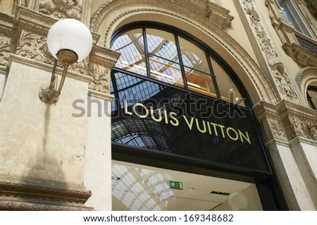 Milan, Lombardy, Italy, May 28: Louis Vuitton luxury fashion brand store located in Galleria Vittoria Emanuele II mall. May 28, 2011 in Milan, Lombardy, Italy - stock photo