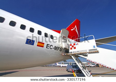 MILAN MALPENSA - OCTOBER 22, 2015 -  Tail (rudder) of a Boeing 737-400 Albastar parked at Malpensa airport