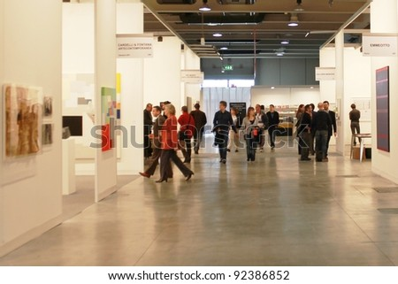 MILAN - MARCH 27: People visit work of arts galleries during MiArt ArtNow, international exhibition of modern and contemporary art March 27, 2010 in Milan, Italy.