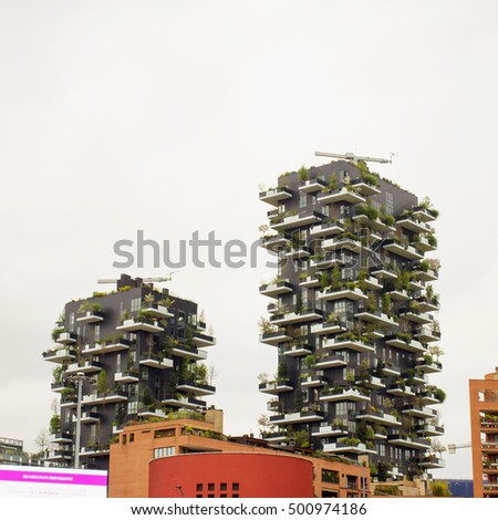 "MILAN, MARCH 30, 2016: the new ""Giardini verticali"" (vertical gardens) skyscrapers in Milan, Italy"