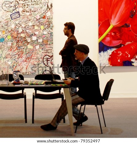 MILAN - MARCH 27: Work of arts galleries during MiArt ArtNow, international exhibition of modern and contemporary art March 27, 2010 in Milan, Italy. - stock photo