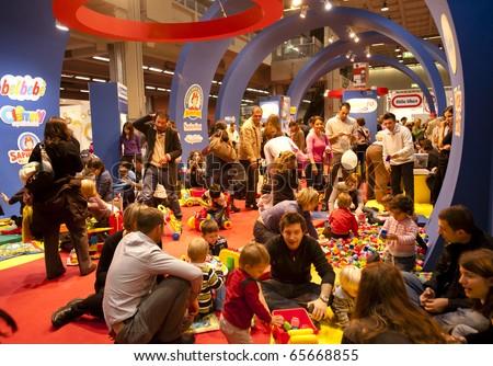 MILAN - NOV 21: Clementoni stand at G! Come Giocare 2010, International Toy Fair, in Milan Fair, Nov 21, 2010. - stock photo