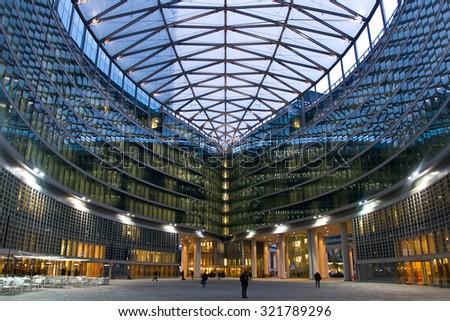 MILAN - NOVEMBER 19, 2013: Piazza Lombardia, the interior square of Palazzo Lombardia, the new headquarter of Regione Lombardia - stock photo