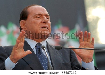 MILAN-SEPTEMBER 27: Italian Prime Minister Silvio Berlusconi speaks at the Italian Party Of Freedom (PDL) Festival on September 27, 2009 in Milan, Italy.