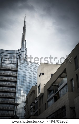 Milan skyscraper and financial district