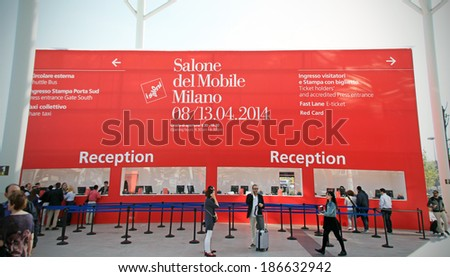 MILANO - APRIL 10, 2014: People at reception just before entering Salone del Mobile, international home furnishing and accessories design exhibition in Milano, Italy.  - stock photo