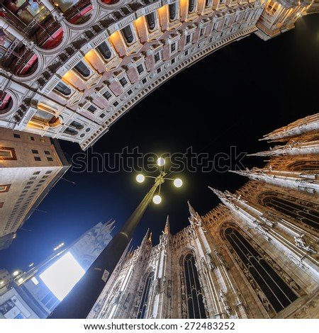 Milano cathedral wide angle view at night - stock photo