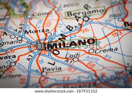 Milano city on a road map - stock photo