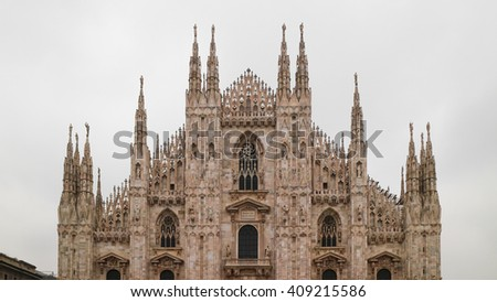 milano duomo front view in 2D elevation - stock photo