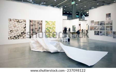 MILANO, ITALY - APRIL 07, 2013: Panoramic view of paintings galleries at MiArt, international exhibition of modern and contemporary art in Milano, Italy. - stock photo