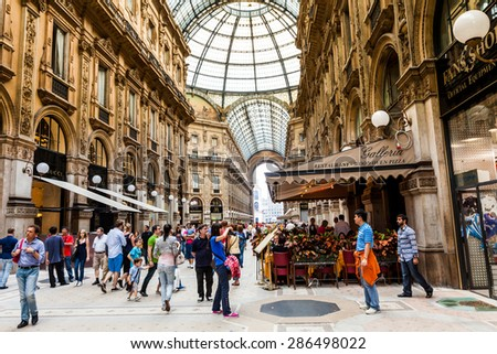 MILANO, ITALY - JUNE 6: Views of the Milan Shopping Mall Galleria Vittorio Emanuele on June 6, 2011. Milan is the second-most populous city in Italy and the capital of Lombardy. - stock photo