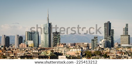 Milano (Italy), skyline with new skyscrapers - stock photo