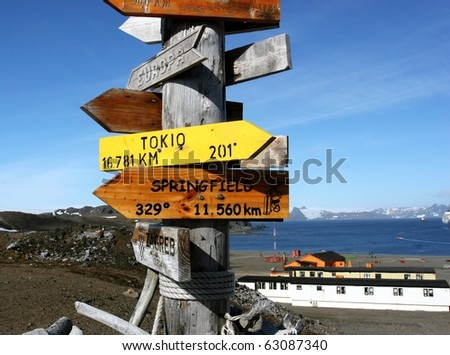 Mile marker signpost distance from Antarctica to other places