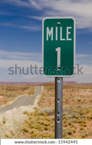 Mile 1 one marker on desert highway - stock photo