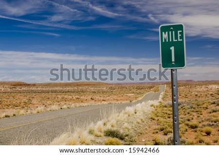 Mile 1 one marker on desert highway horizontal - stock photo