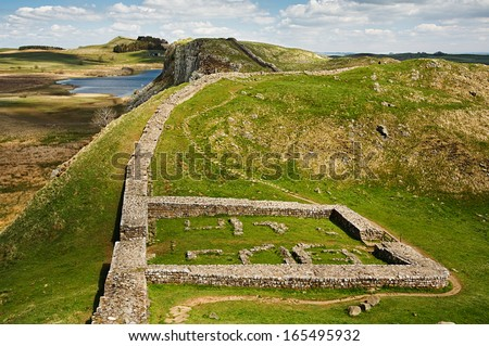 Milecastle 39 part of Hadrians Wall in Northumberland on the Scottish Border - stock photo